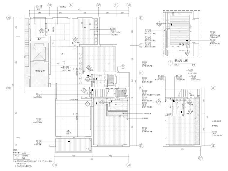 [浙江]滨江167㎡复式三居家装样板间施工图-一、二层地面铺装图
