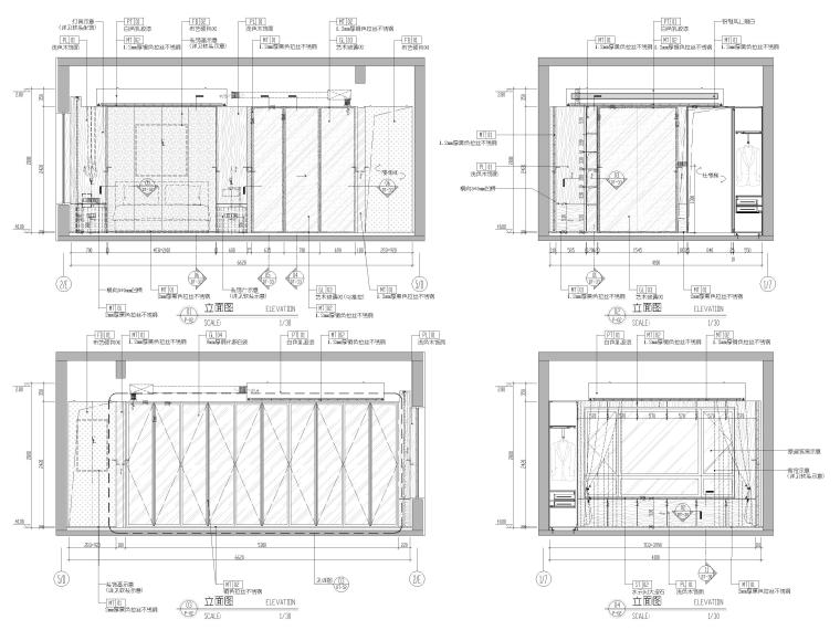 [浙江]滨江167㎡复式三居家装样板间施工图-主卧立面图