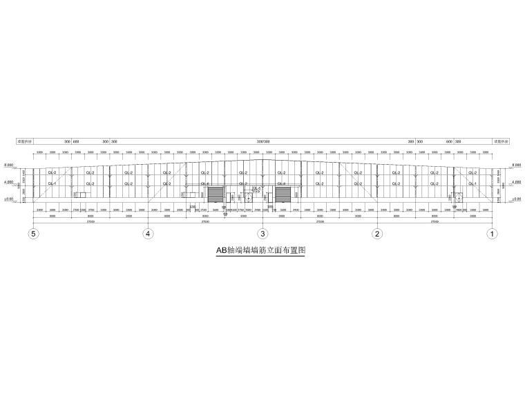 [黑龙江]门式刚架结构麻纱加工车间结施2016-墙筋立面布置图