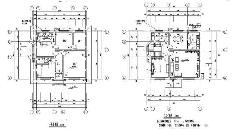 济南三层砖混结构别墅施工图CAD含建筑图-建筑平面图