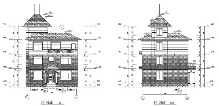 济南三层砖混结构别墅施工图CAD含建筑图-建筑立面图