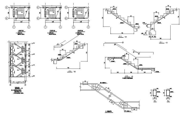 济南三层砖混结构别墅施工图CAD含建筑图-楼梯布置图