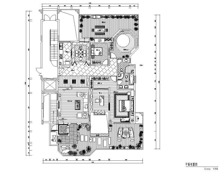 东南亚风三居室户型样板房装修施工图设计-01 平面布置图