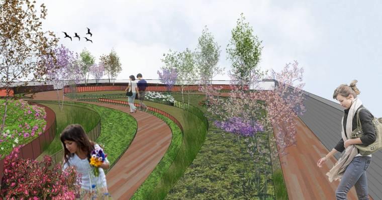 [上海]现代生态都市商务区绿色景观设计方案-天空菜园景观效果图