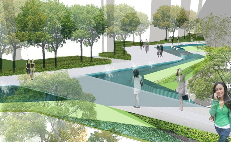 [上海]现代生态都市商务区绿色景观设计方案-特色水景景观效果图