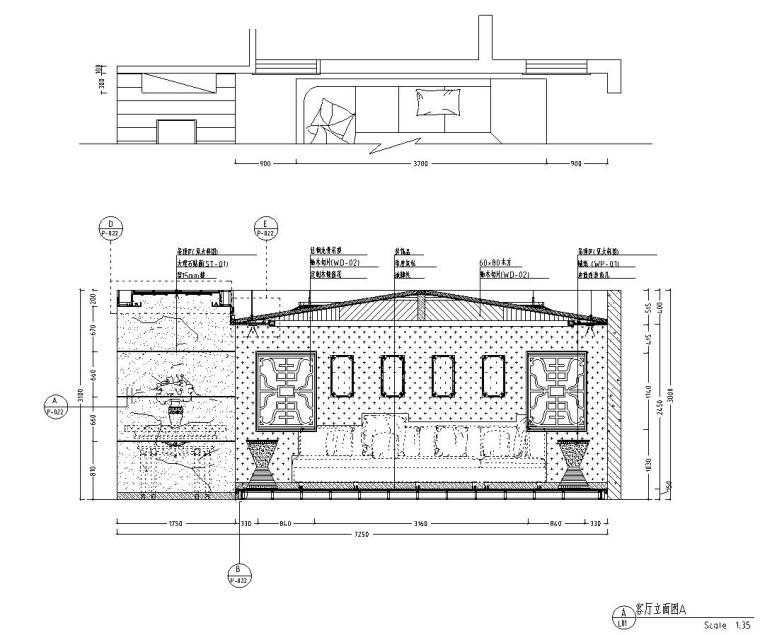东南亚风三居室户型样板房装修施工图设计-立面图
