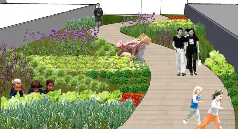[上海]现代生态都市商务区绿色景观设计方案-天空菜园景观效果图2