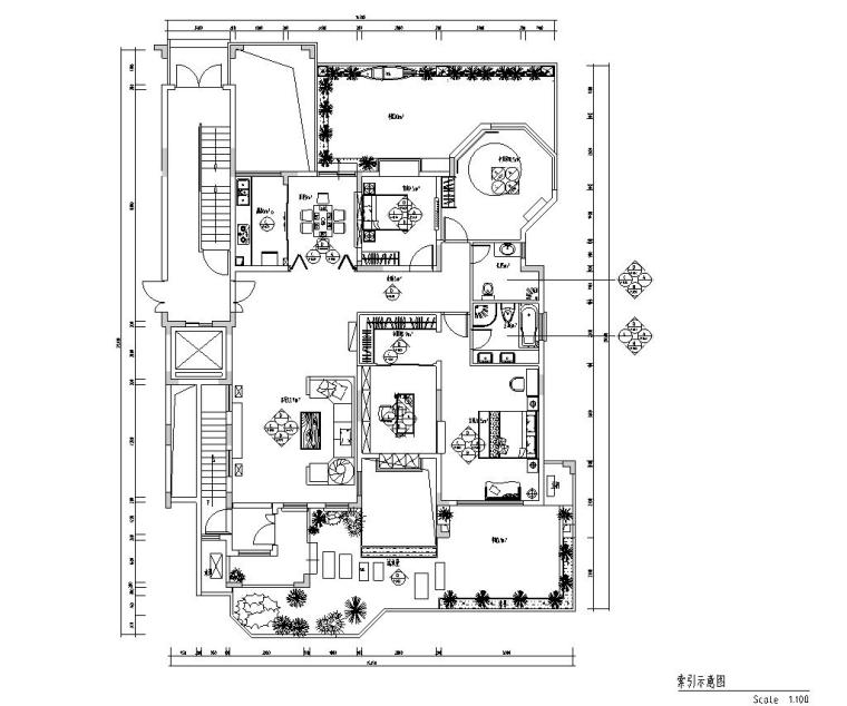 东南亚风三居室户型样板房装修施工图设计-索引示意图