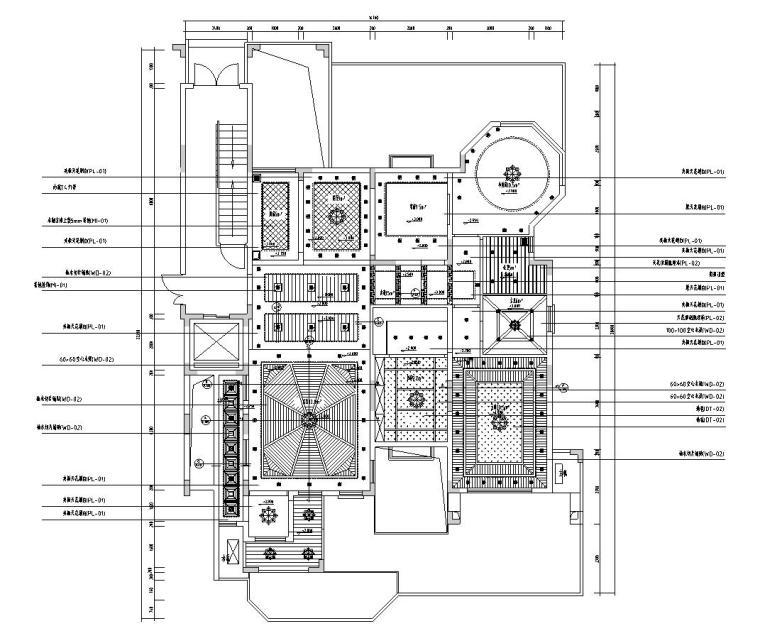 东南亚风三居室户型样板房装修施工图设计-天花布置图