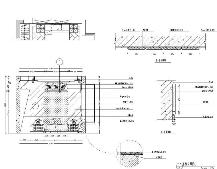 东南亚风三居室户型样板房装修施工图设计-立面图43