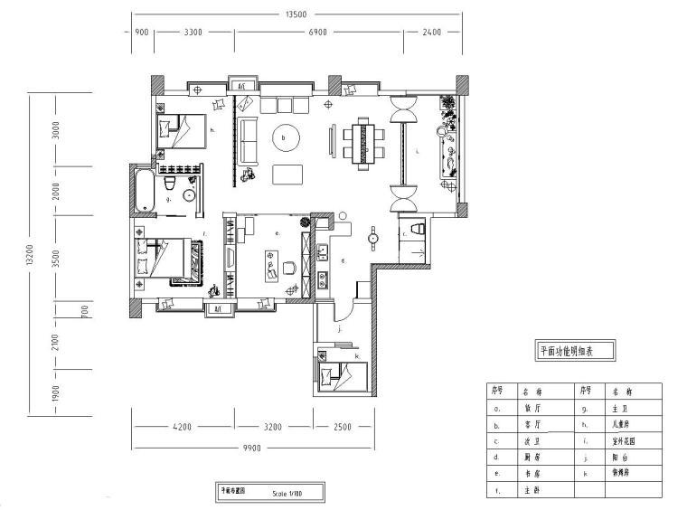 中式古典住宅装修施工图设计-01 平面布置图
