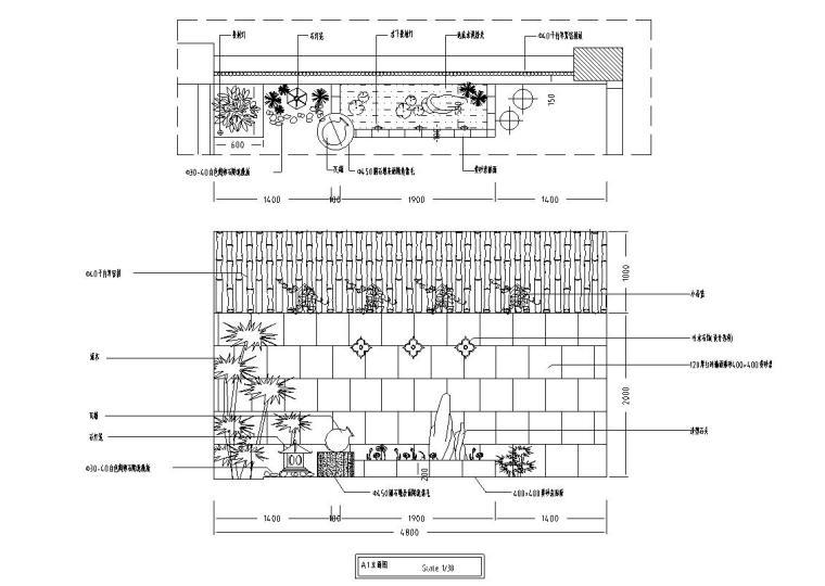 中式古典住宅装修施工图设计-立面图