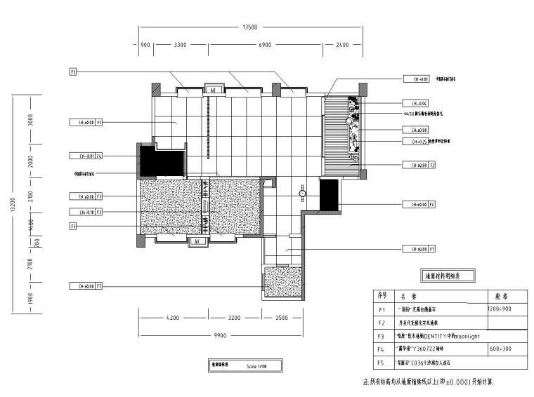 中式古典住宅装修施工图设计-地面铺贴图