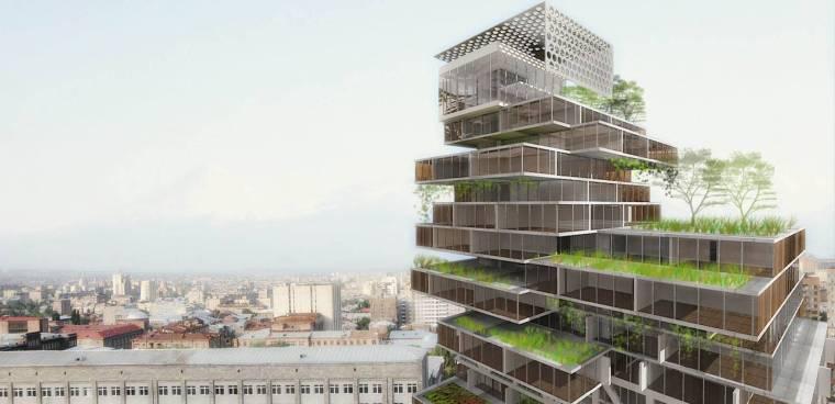 [上海]现代生态都市商务区绿色景观设计方案-总体风貌效果图