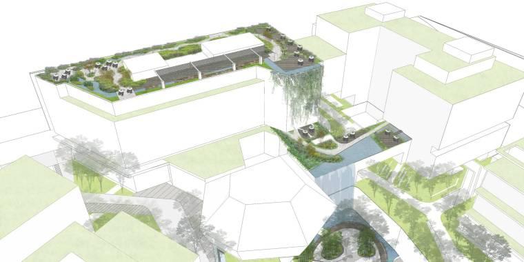 [上海]现代生态都市商务区绿色景观设计方案-总体鸟瞰图