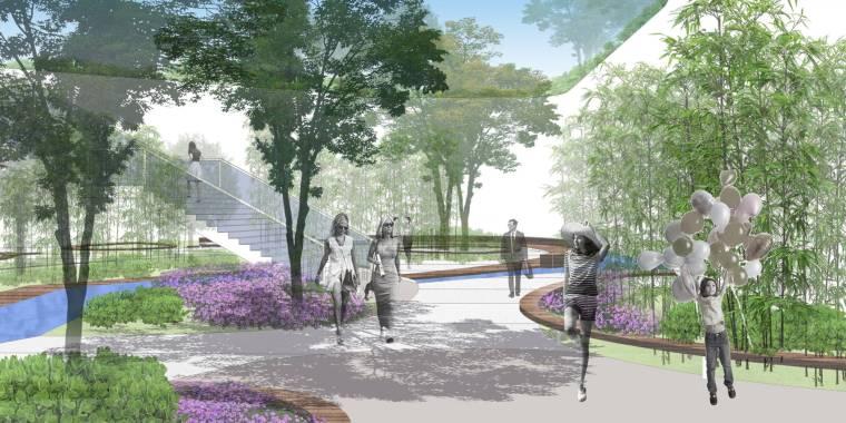 [上海]现代生态都市商务区绿色景观设计方案-地下2层商业中庭景观效果图