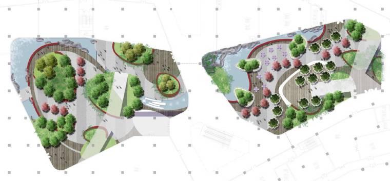 [上海]现代生态都市商务区绿色景观设计方案-地下二层商业中庭景观总平面图