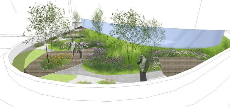 [上海]现代生态都市商务区绿色景观设计方案-趣味庭院景观效果图