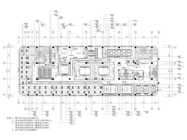 [南京]5200㎡三层银行办公室装修设计施工图-3F暖通风口布置图