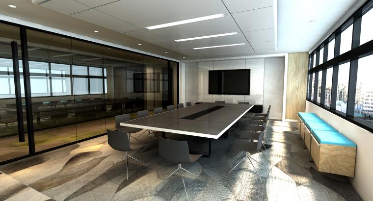 [南京]5200㎡三层银行办公室装修设计施工图-大会议室