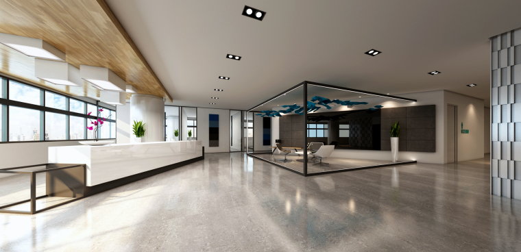 [南京]5200㎡三层银行办公室装修设计施工图-接待区