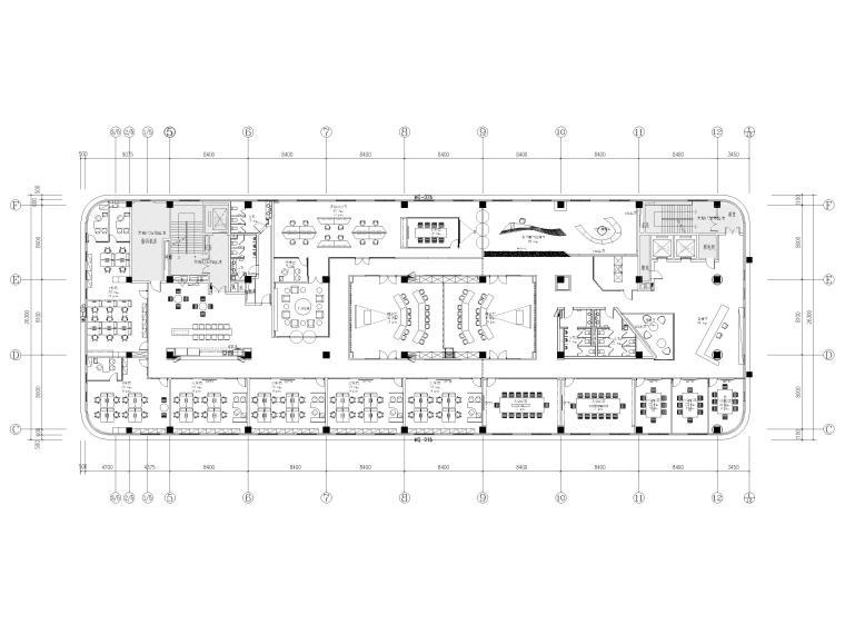 [南京]5200㎡三层银行办公室装修设计施工图-3F平面布置图
