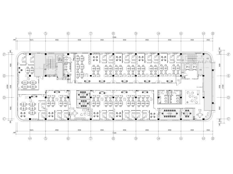 [南京]5200㎡三层银行办公室装修设计施工图-4F平面布置图