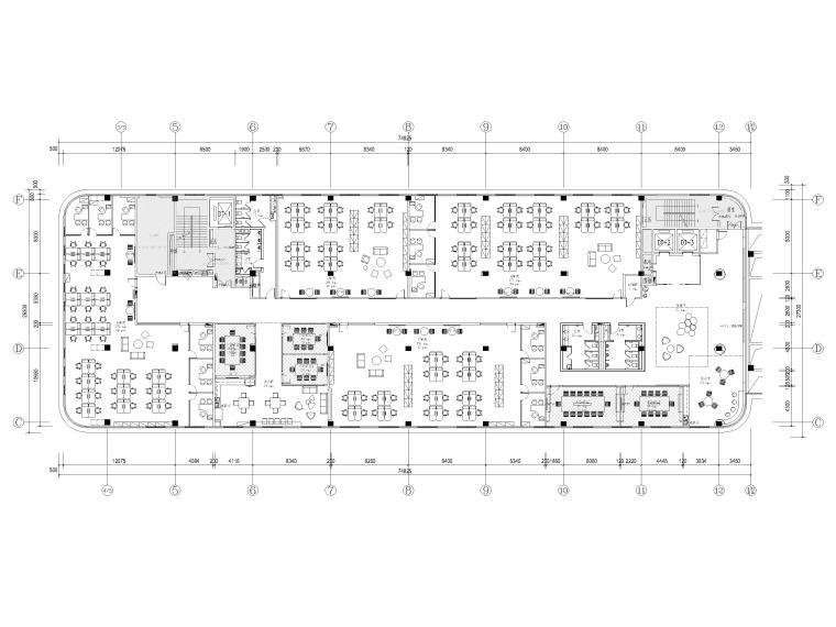 [南京]5200㎡三层银行办公室装修设计施工图-5F平面布置图