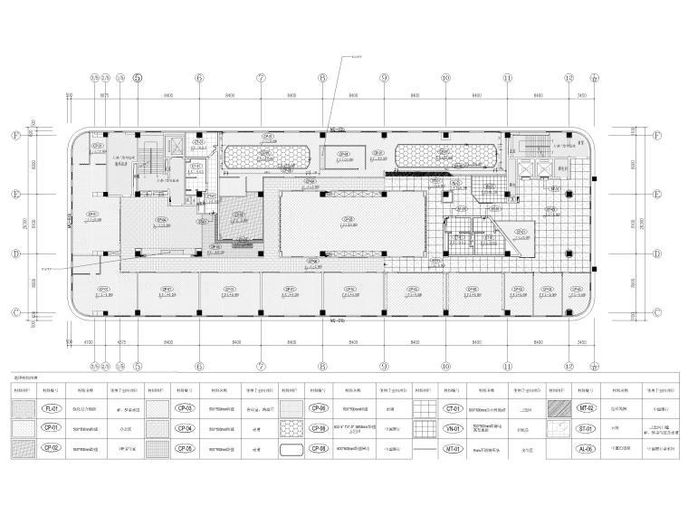 [南京]5200㎡三层银行办公室装修设计施工图-3F地面铺装图