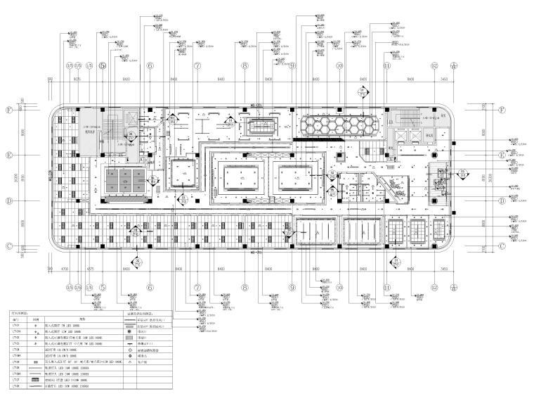 [南京]5200㎡三层银行办公室装修设计施工图-3F综合天花布置图