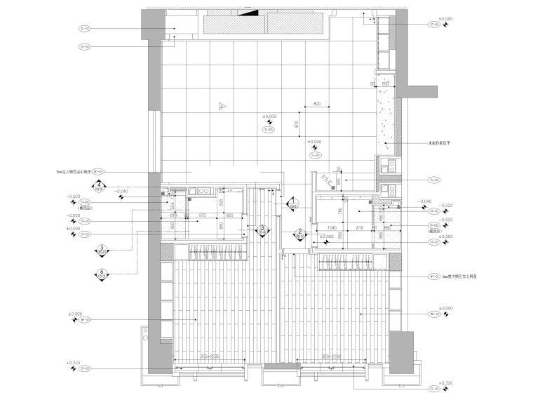 [天津]85㎡现代二居室家装样板间装修施工图-地面铺装图