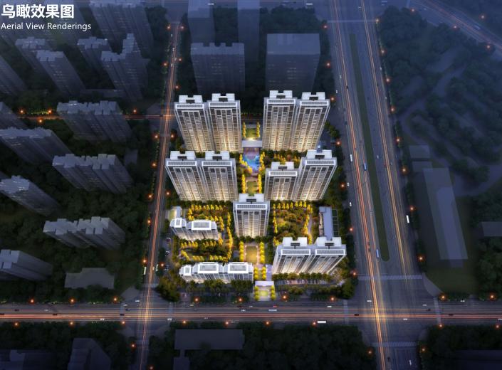 郑州国际新城商墅高层住宅建筑方案文本2019-鸟瞰效果图