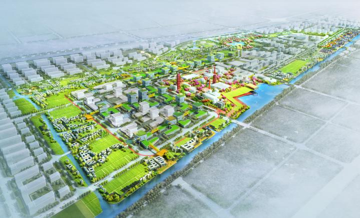 [杭州]滨水田园农业创业休闲小镇概念设计-鸟瞰图