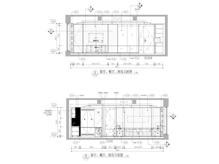 [天津]85㎡现代二居室家装样板间装修施工图-客餐厅立面图