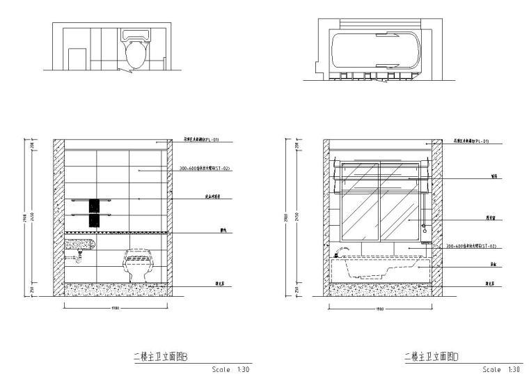 西欧风5层户型样板房装修施工图设计-立面图2
