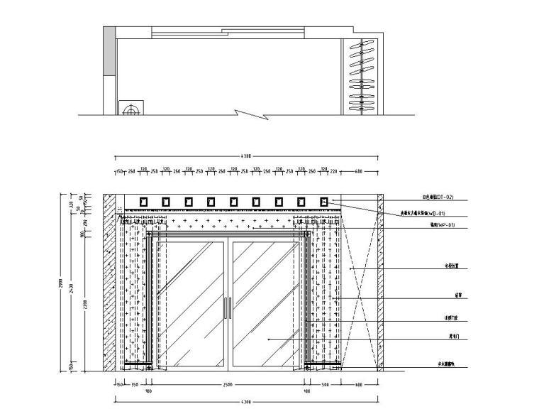西欧风5层户型样板房装修施工图设计-主卧立面图2