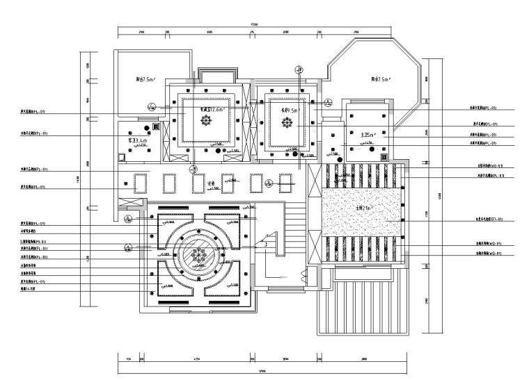 西欧风5层户型样板房装修施工图设计-天花布置图