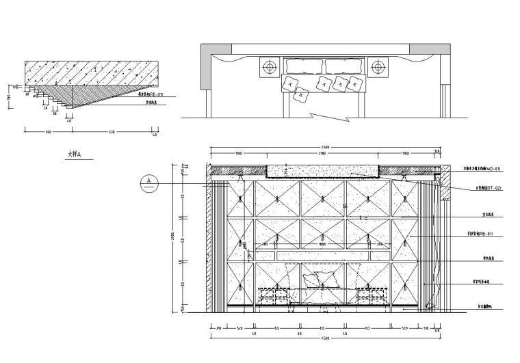 西欧风5层户型样板房装修施工图设计-主卧立面图