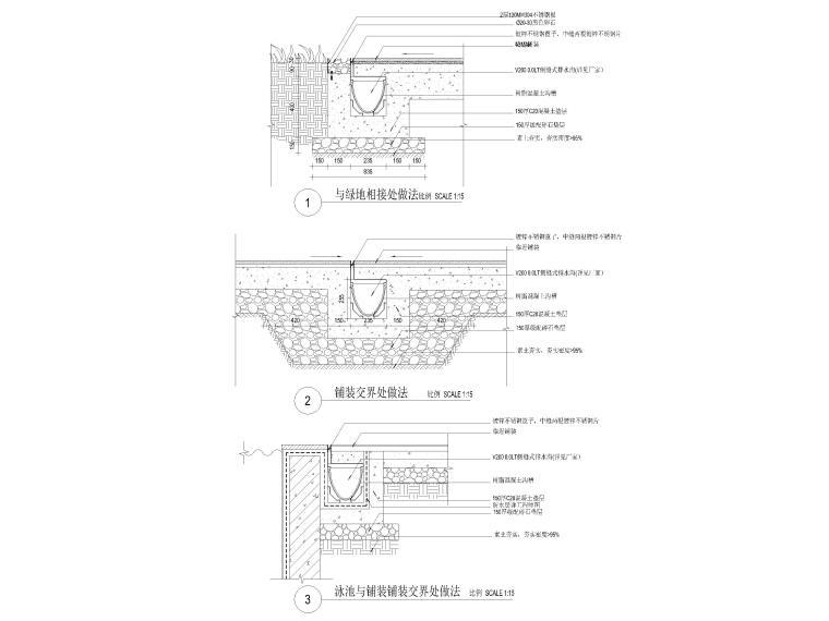 [广东]知名企业销售中心景观施工图+SU模型-侧缝式收水沟做法详图