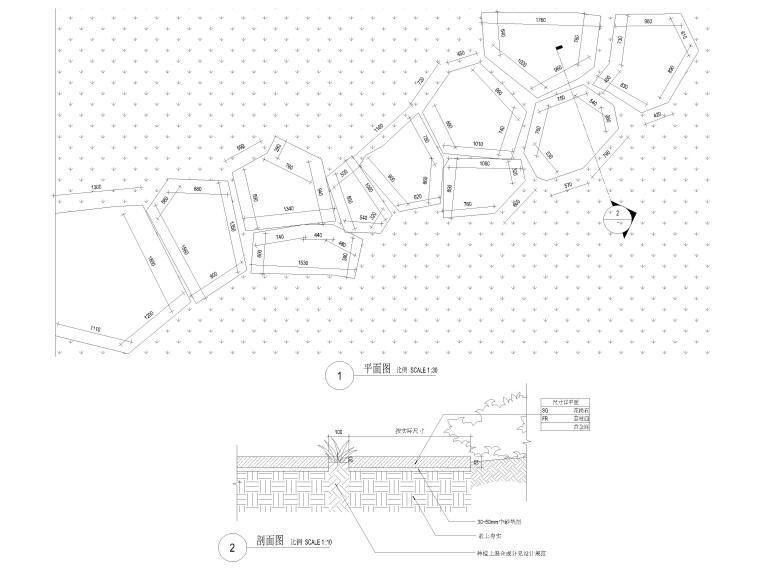 [广东]知名企业销售中心景观施工图+SU模型-标准汀步做法详图
