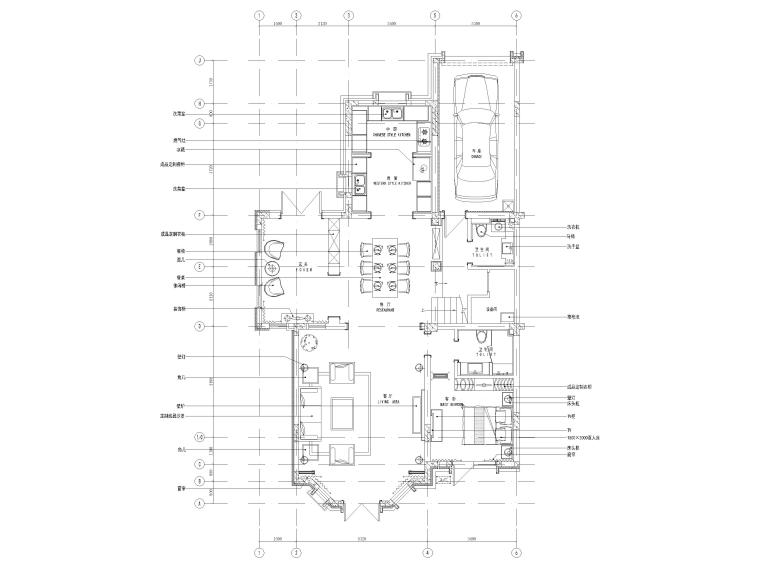 [沈阳]350㎡三层三居别墅样板间装修施工图-一层平面布置图