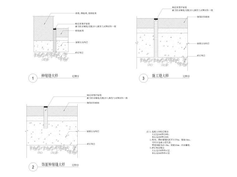 [广东]知名企业销售中心景观施工图+SU模型-伸缩缝及施工缝大样