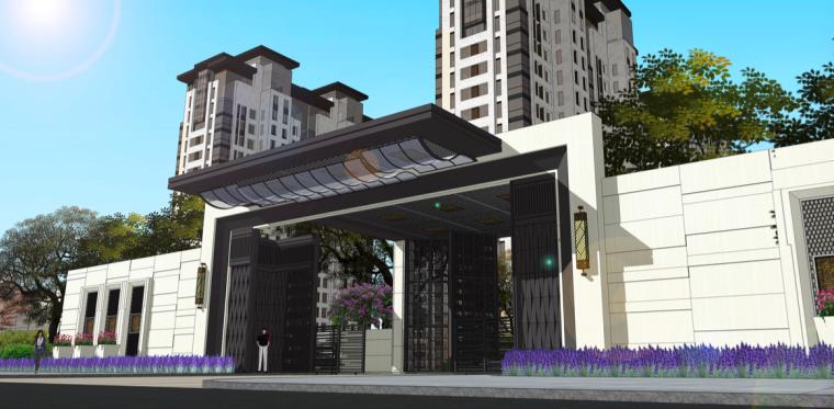 [苏州]现代中式高品质轻奢居住区景观方案-别墅区入口效果图