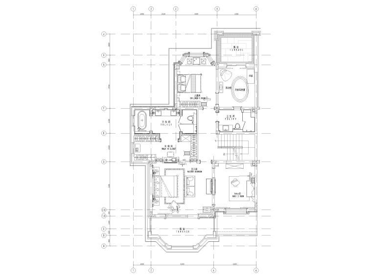 [沈阳]350㎡三层三居别墅样板间装修施工图-二层平面布置图