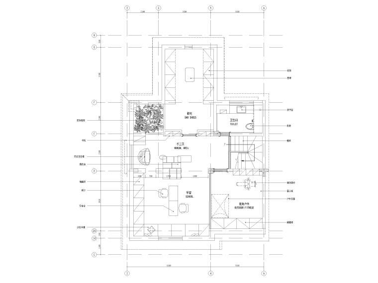 [沈阳]350㎡三层三居别墅样板间装修施工图-三层平面布置图
