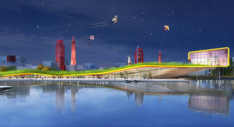 [杭州]滨水田园农业创业休闲小镇概念设计-滨水效果图