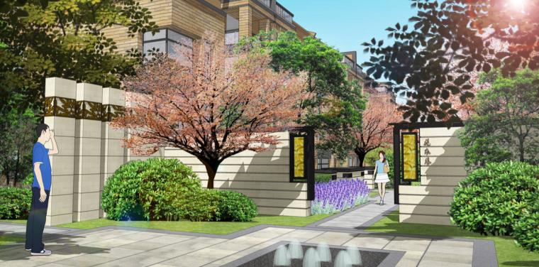[苏州]现代中式高品质轻奢居住区景观方案-别墅区东西式巷道效果图