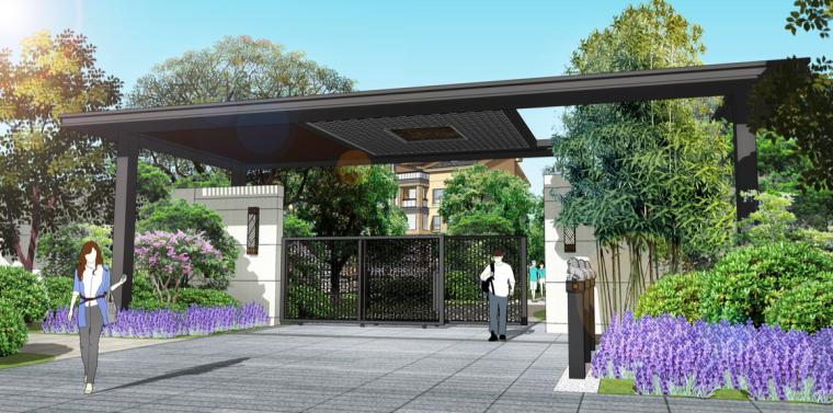 [苏州]现代中式高品质轻奢居住区景观方案-别墅区二进院门