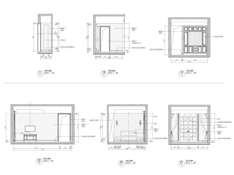 [沈阳]350㎡三层三居别墅样板间装修施工图-卧室立面图