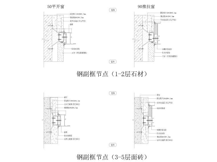 [汕头]住宅小区幕墙设计施工图2017-钢副框节点图